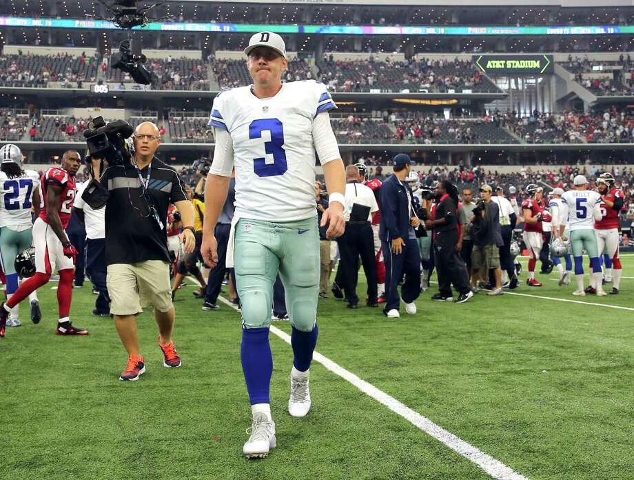 Dallas Cowboys quarterback Brandon Weeden (3) walks off the field after the Cowboys' 39-28 loss to the Atlanta Falcons on Sunday, Sept. 27, 2015, at AT&T Stadium in Arlington, Texas. (Richard W. Rodriguez/Fort Worth Star-Telegram/TNS) Photo: Richard W. Rodriguez, MBR / McClatchy-Tribune News Service / Fort Worth Star-Telegram