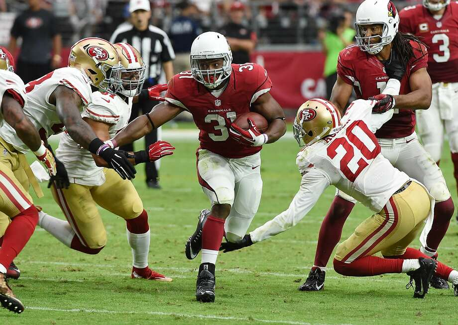 GLENDALE, AZ - SEPTEMBER 27:  David Johnson #31 of the Arizona Cardinals runs the ball during the second half against the San Francisco 49ers at University of Phoenix Stadium on September 27, 2015 in Glendale, Arizona. Cardinals won 47-7. (Photo by Norm Hall/Getty Images) Photo: Norm Hall, Getty Images