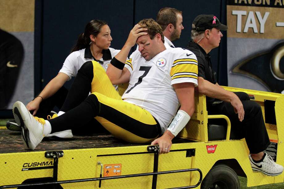 Steelers quarterback Ben Roethlisberger is carted off the field after injuring his knee in Sunday's game at St. Louis. The extent of the injury is unknown. Photo: Tom Gannam, FRE / FR45452 AP