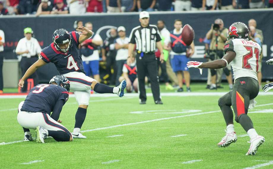 The Texans' Randy Bullock converts on a 19-yard field-goal attempt in the fourth quarter of a 19-9 victory over the Tampa Bay Buccaneers on Sunday at NRG Stadium. Bullock also made a 39-yarder in the third quarter. Photo: Brett Coomer, Staff / © 2015  Houston Chronicle