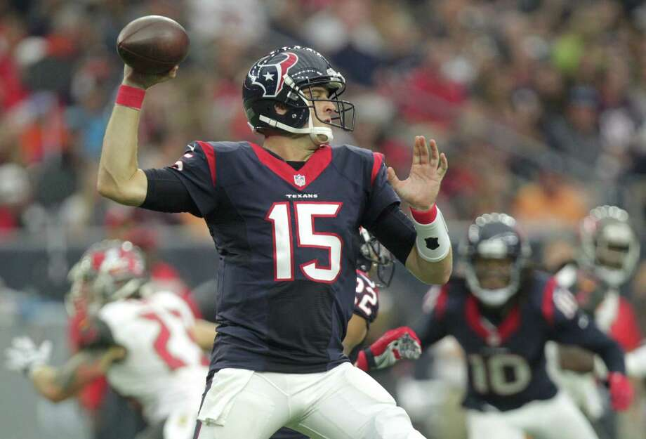 Houston Texans quarterback Ryan Mallett (15) drops back for a pass during the first quarter of an NFL football game at NRG Stadium on Sunday, Sept. 27, 2015, in Houston. ( Jon Shapley / Houston Chronicle ) Photo: Jon Shapley, Staff / © 2015  Houston Chronicle