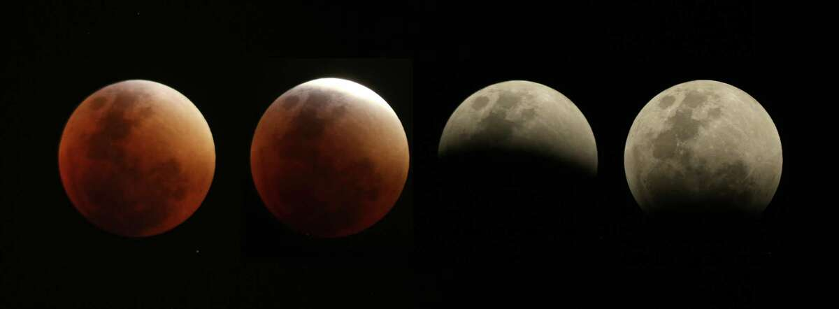 This four picture combo taken over a one hour period shows the so-called supermoon in various stages as it changes from almost full to almost totally eclipsed above Brasilia, Brazil, Sunday, Sept. 27, 2015. (AP Photo/Eraldo Peres) ORG XMIT: BSB105