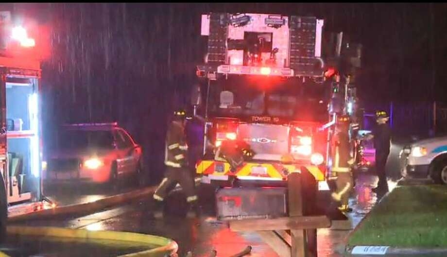 An early-morning fire at a home in the 8700 block of Pines Place in Atascocita was confined to the garage, with no injuries reported, Sept. 28, 2015. Photo: Christian, Carol, Via Metro Video