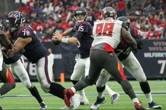 Houston Texans quarterback Ryan Mallett (15) prepares to pass the ball during the second quarter of an NFL football game at NRG Stadium on Sunday, Sept. 27, 2015, in Houston. ( Jon Shapley / Houston Chronicle )