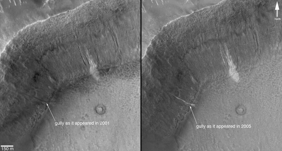 In June 2000, we reported the discovery, using the Mars Global Surveyor's Mars Orbiter Camera, of very youthful-looking gullies found on slopes at middle and high latitudes on Mars. Since that time, tens of thousands of gullies have been imaged by all of the Mars orbiting spacecraft: Mars Global Surveyor, Mars Odyssey, Mars Express and Mars Reconnaissance Orbiter.