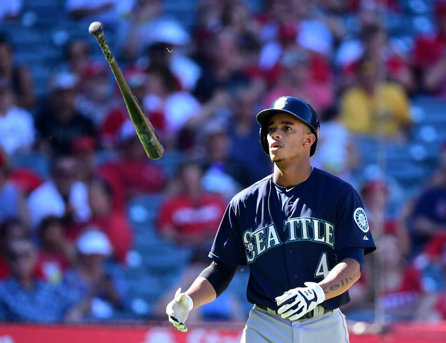 Mariners shortstop Ketel Marte shows his disgust on Sunday in Seattle's 3-2 loss to the Los Angeles Angels. (Harry How, Getty Images)