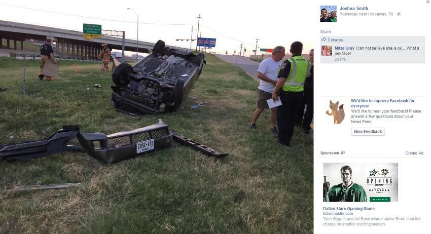 Joshua Smith shared how his sister, Kimberly Smith, was involved in a rollover early Sunday morning near the President George Bush Turnpike on Facebook.