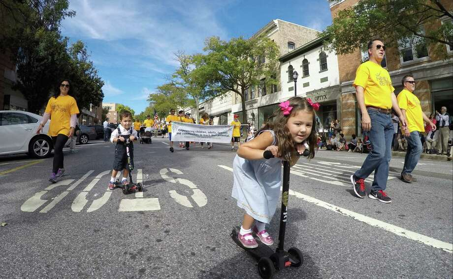 Thousands turn out to help the Town of Greenwich celebrate its 375th anniversary with a parade through downtown on Sunday, Sept. 27, 2015. Photo: Matthew Brown / For Hearst Connecticut Media / Connecticut Post Freelance