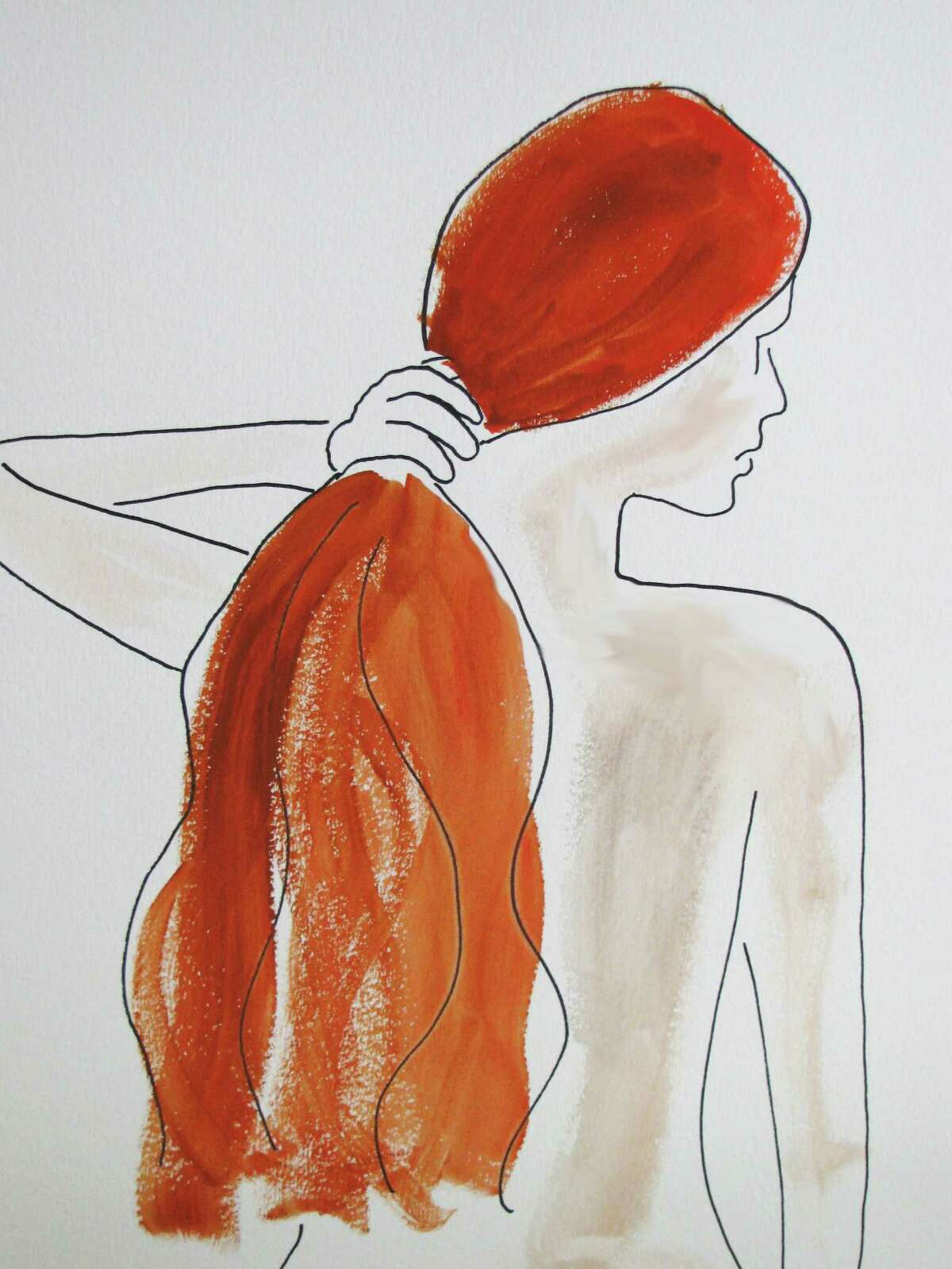 """As seen in """"Redhead,"""" simple lines and judicious use of color is a style favored by Greenwich artist Fereshteh Priou. Some of her works are on display through Thursday, Oct. 15, at Les Beaux Arts Gallery in Greenwich."""