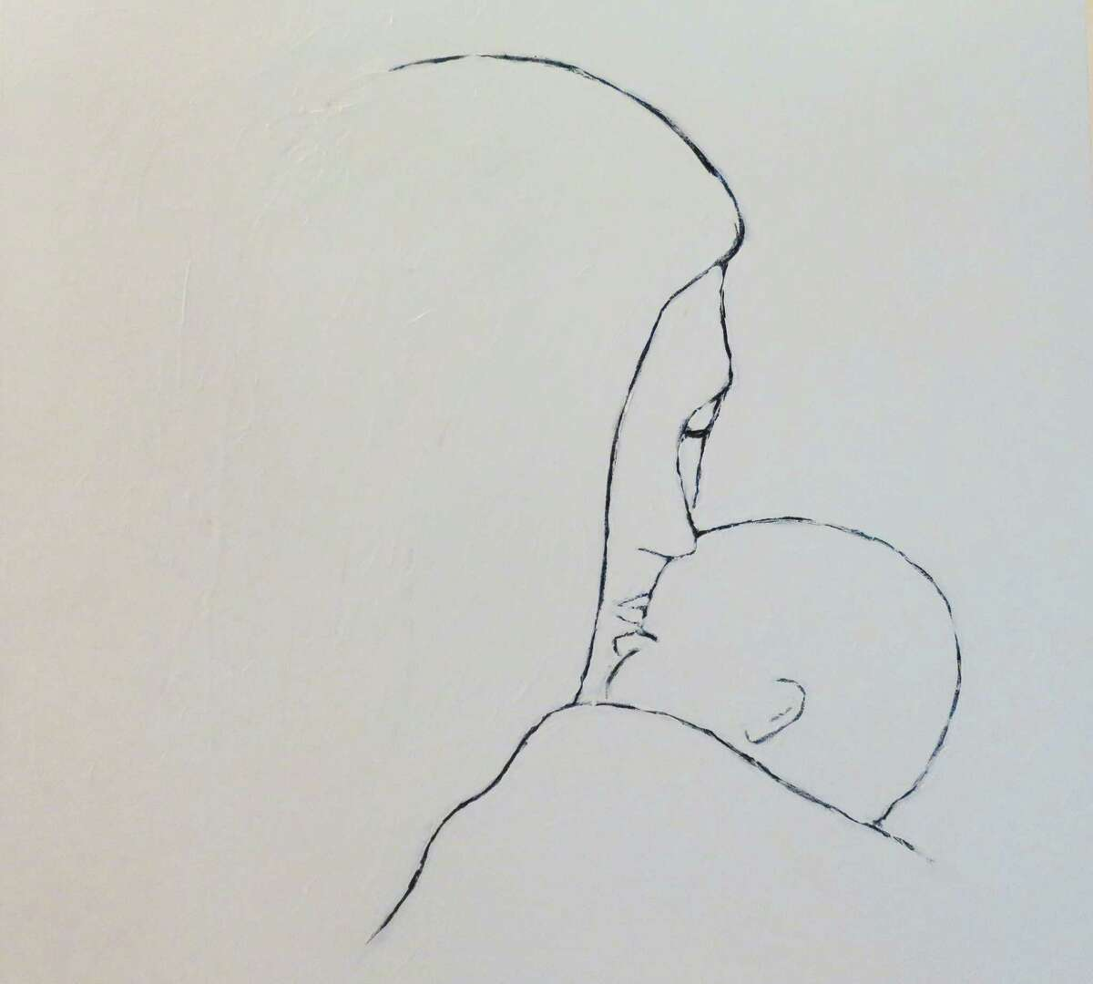"""""""Embrace,"""" is an example of the clean and spare lines used by Greenwich artist Fereshteh Priou in her work, pieces of which are on display through Thursday, Oct. 15, at Les Beaux Arts Gallery in Greenwich."""