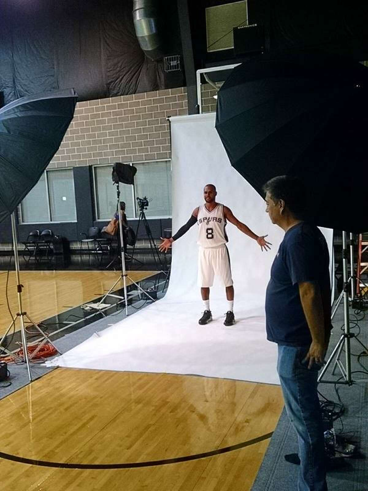Patty Mills doing his shoot at Spurs Media Day.