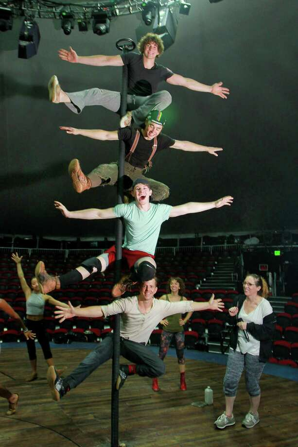 "Gypsy Snider, right, supervises one of the acrobatic routines of the Lost Boys in ""Peter Pan 360."" Photo: Gary Fountain, Freelance / Copyright 2015 by Gary Fountain"