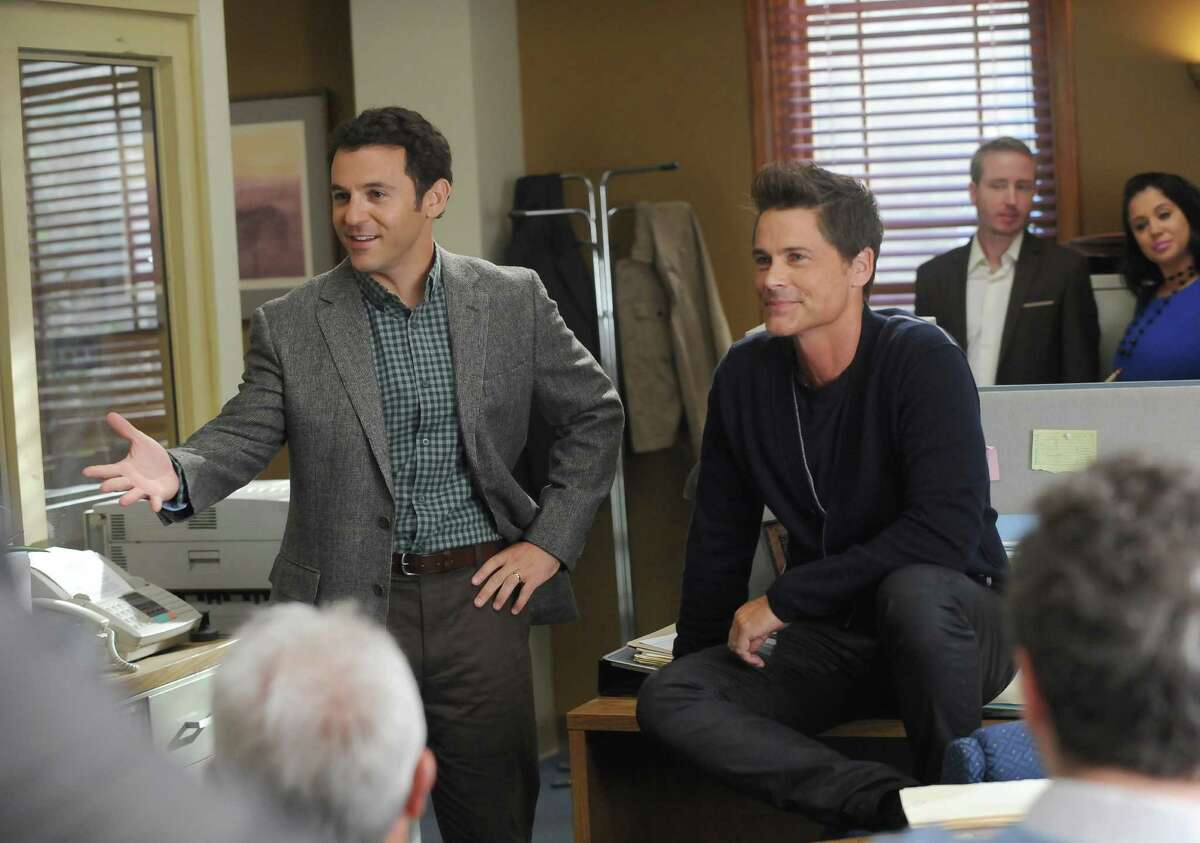 """Brothers played by Fred Savage (left), as a lawyer, and Rob Lowe, as an actor who played one on TV, team up in """"The Grinder,"""" beginning Tuesday night on Fox."""