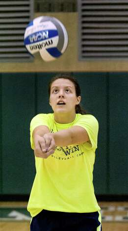 Shen's Julia Paliwodzinski bumps the ball during volleyball practice on Friday, Sept. 25, 2015, at Shenendehowa High in Clifton Park, N.Y. (Cindy Schultz / Times Union) Photo: Cindy Schultz, Albany Times Union / 00033476A