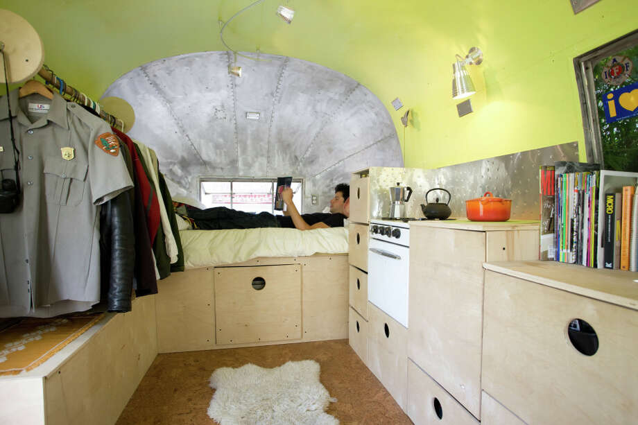 Landscape architect Andreas Stavropoulos is renting hisremodeled 1959 Airstream trailer for $525 a month on Craigslist. Photo: Mark Compton
