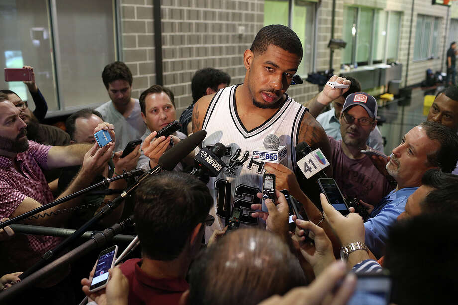 San Antonio Spurs LaMarcus Aldridge is interviewed during Media Day at the training facilities, Monday, Sept. 28, 2015. The former University of Texas player signed on with the Spurs this season. Photo: Jerry Lara /San Antonio Express-News / © 2015 San Antonio Express-News