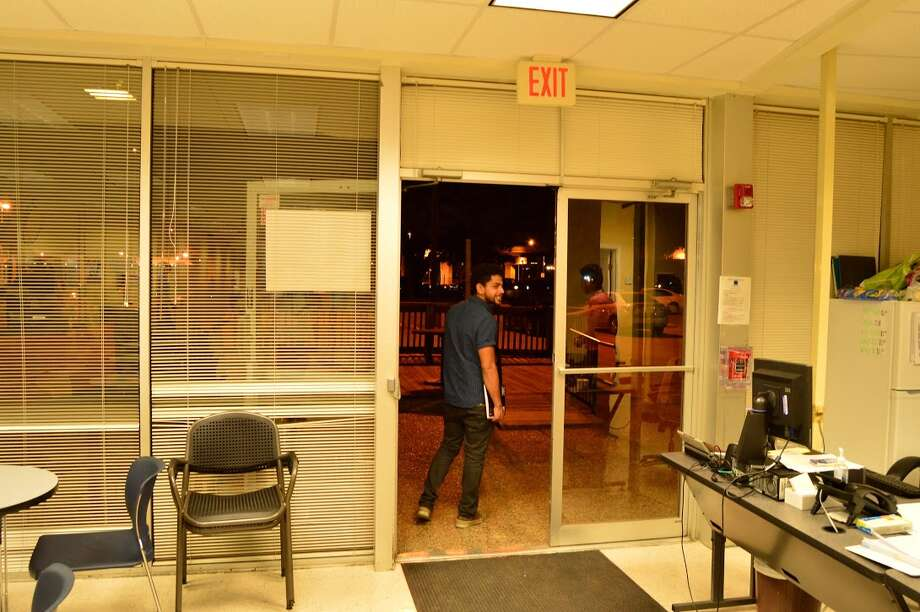After 11:30 p.m., a student leaves Liberty after his last class. Photo: Andrew Kragie
