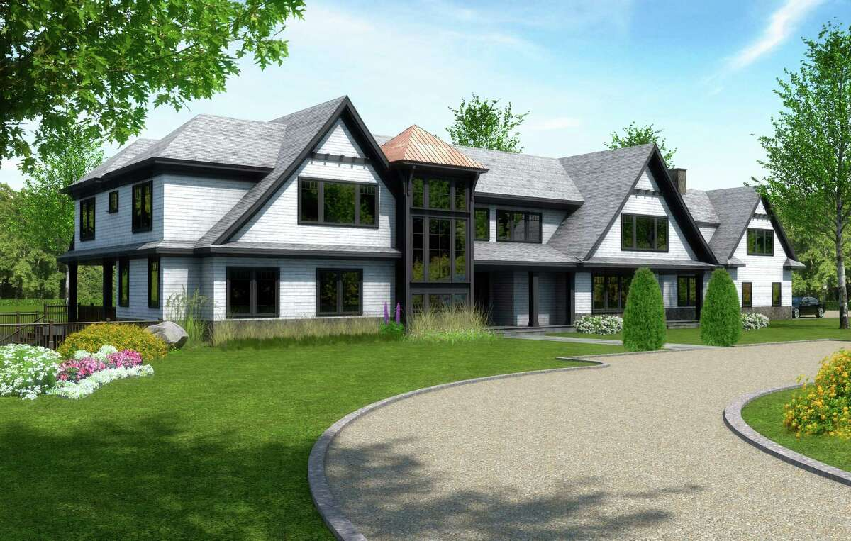 This rendering shows the front of Meadow Farm at 495 North St. in Greenwich. The property is Bespoke Real Estate's first listing in Greenwich.