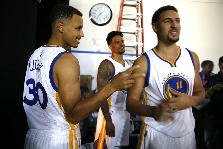 Stephen Curry and Klay Thompson joke around during Media Day. Photo: Scott Strazzante, The Chronicle