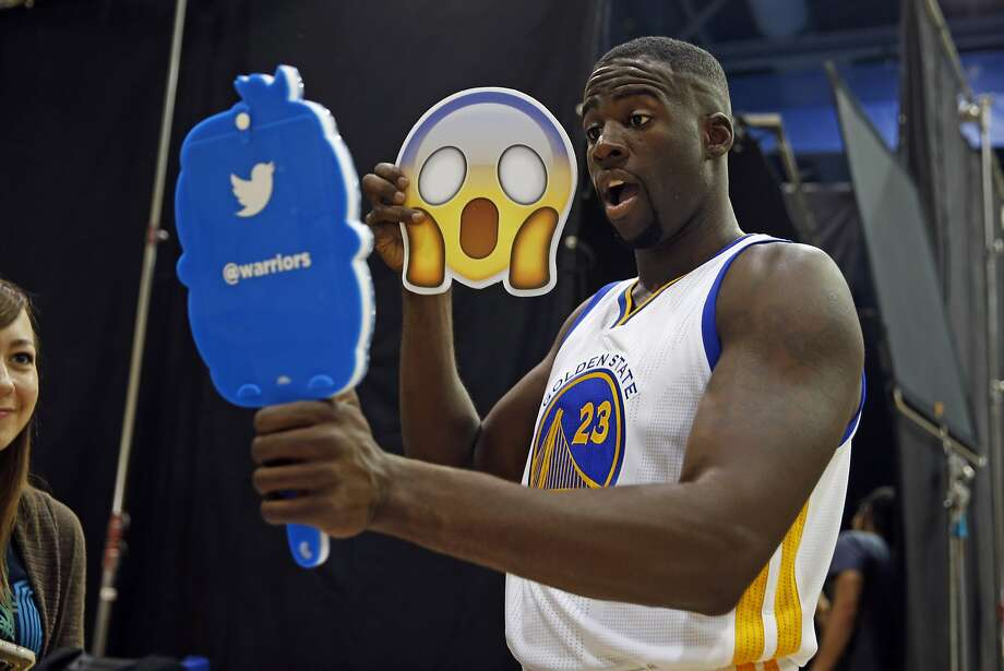 Draymond Green takes a selfie for Twitter during the Warriors' Media Day in Oakland. Photo: Scott Strazzante, The Chronicle