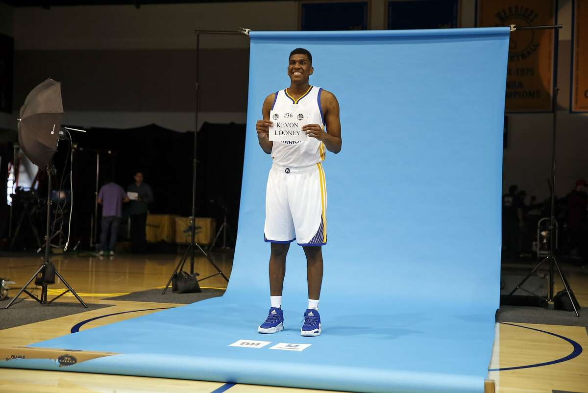 Kevon Looney is photographed during Golden State Warriors' Media Day in Oakland, Calif., on Monday, September 28, 2015.