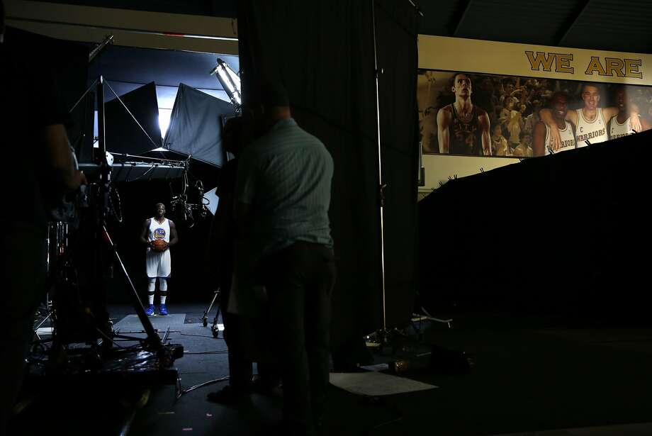 Draymond Green does a video shoot during Media Day. Photo: Scott Strazzante, The Chronicle