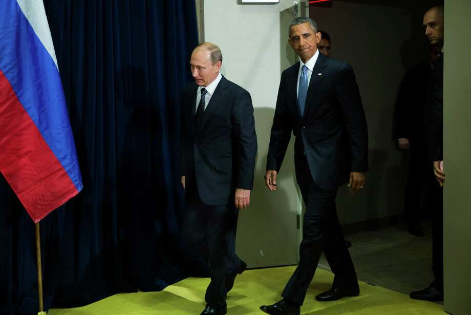 President Barack Obama prior to a bilateral meeting with Russian President Vladimir Putin on the opening day of the United Nations General Assembly, Sept. 28, 2015. Earlier Monday, Obama and Putin spoke bluntly before the General Assembly, essentially blaming each other for the war in Syria and the refugee crisis it helped to spawn. Photo: DOUG MILLS, New York Times / NYTNS