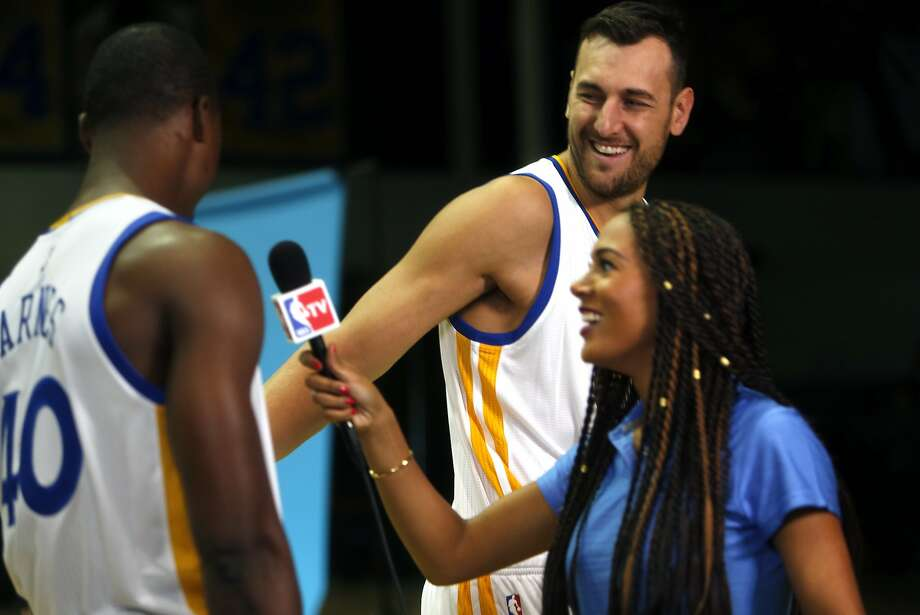 Andrew Bogut jokes with Harrison Barnes during Golden State Warriors' Media Day in Oakland, Calif., on Monday, September 28, 2015. Photo: Scott Strazzante, The Chronicle