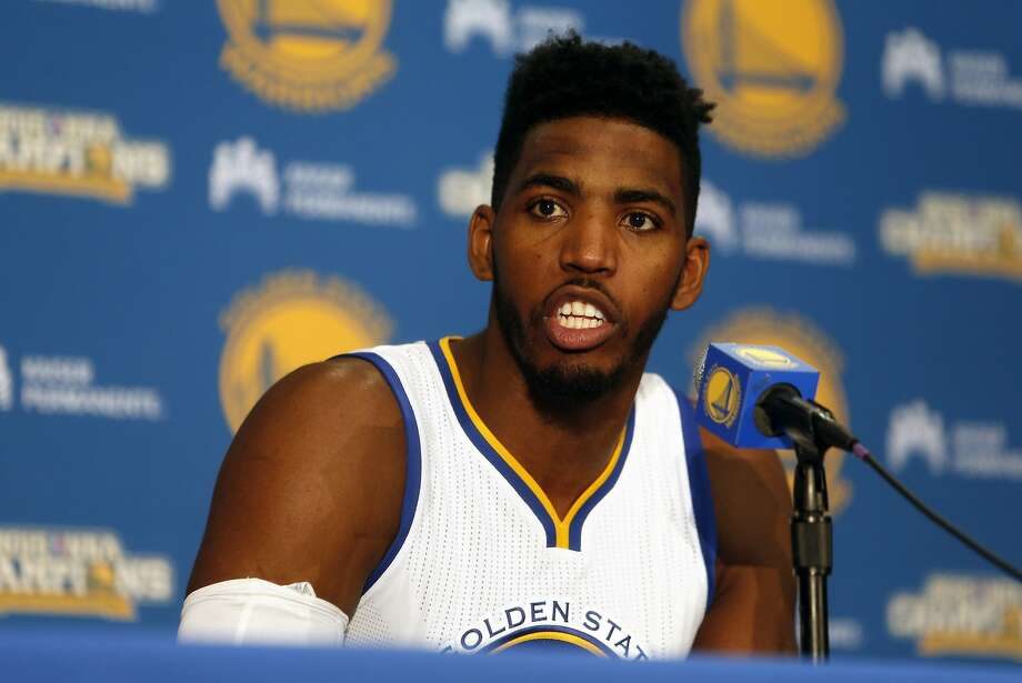 Jason Thompson answers a question during Golden State Warriors' Media Day in Oakland, Calif., on Monday, September 28, 2015. Photo: Scott Strazzante, The Chronicle