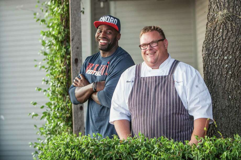 Chris Shepherd, right, chef/owner of Underbelly, prepares meals weekly for Texans outside linebacker Whitney Mercilus and other members of the team. The above photo is from 2015. Photo: Michael Starghill, Jr., Photographer / © 2015 Michael Starghill, Jr.