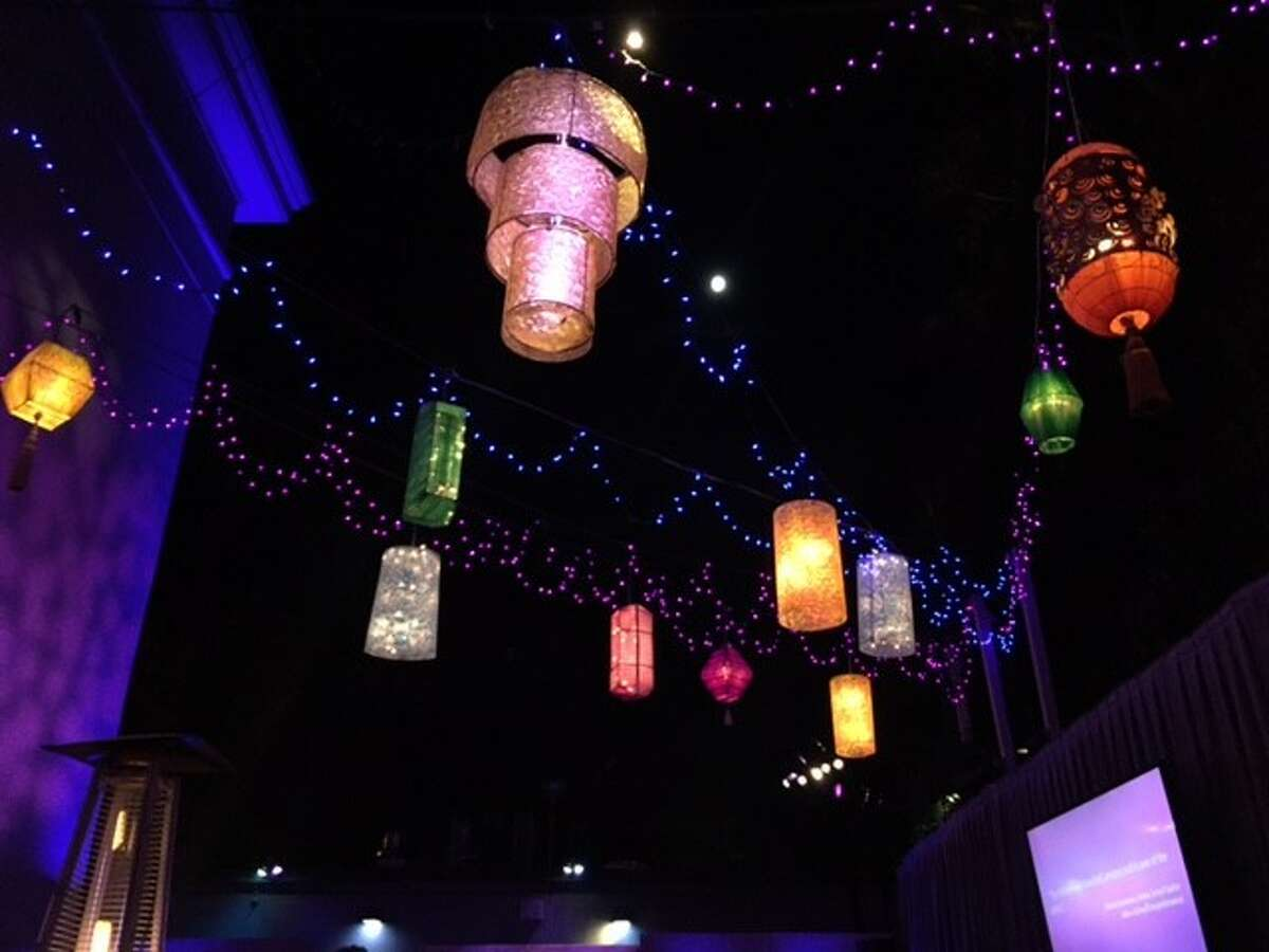 Lanterns over dinner, at Cal Performances gala at Greek Theatre