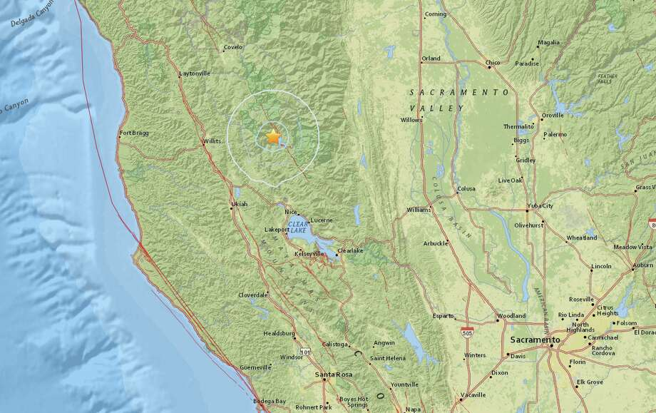 A map from the USGS shows an earthquake with a preliminary magnitude of 3.9 that struck in Northern California on Monday, Sept. 28, 2015. Photo: USGS