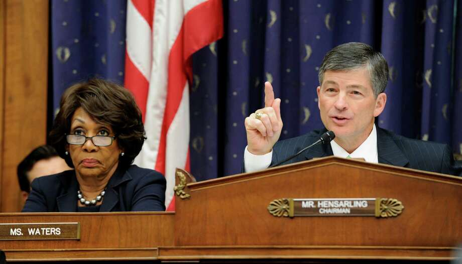 FILE - This  June 24, 2014 file photo shows House Financial Services Committee Chairman Rep. Jeb Hensarling, R-Texas., right, joined by ranking member Rep. Maxine Waters, D-Calif.,  speaking on Capitol Hill in Washington. Washington may be a sea of dysfunction, but the current Congress is at least offering a few recent reminders about how a bill becomes a law: compromise. Hensarling seems uninterested in cutting deals with Democrats. (AP Photo/Susan Walsh) Photo: Susan Walsh, STF / AP