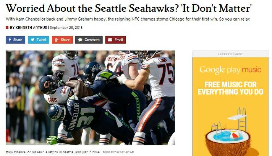 """Kenneth Arthur of Rolling Stone said that Chancellor's return and Graham's standout effort were key in Seattle's reversal of fortune in Week 3.""""In 60 minutes of football, the Seahawks managed to erase many of the doubts that surrounded their young 2015 season,"""" Arthur wrote. """"They answered many questions about their defense -– which came into Week 3 ranked 29th in points per game allowed, but ended it ranked 11th -– which tends to happen when you allow zero points. And they brought Chancellor back into the fold. He may have finished the game with just one tackle, and he sat out at times because he had only begun practicing five days earlier, but it was his presence that mattered most."""" Photo: Cohen, Stephen M, Seattlepi.com"""