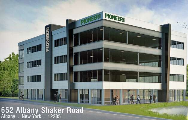 An artist's concept of the future 60,000-square-foot headquarters of Pioneer Bank at Wolf and Albany Shaker Roads on display during ground breaking ceremonies Wednesday Sept. 16, 2015 in Colonie, NY.  (John Carl D'Annibale / Times Union) ORG XMIT: MER2015091613201552 Photo: John Carl D'Annibale / 00033382A