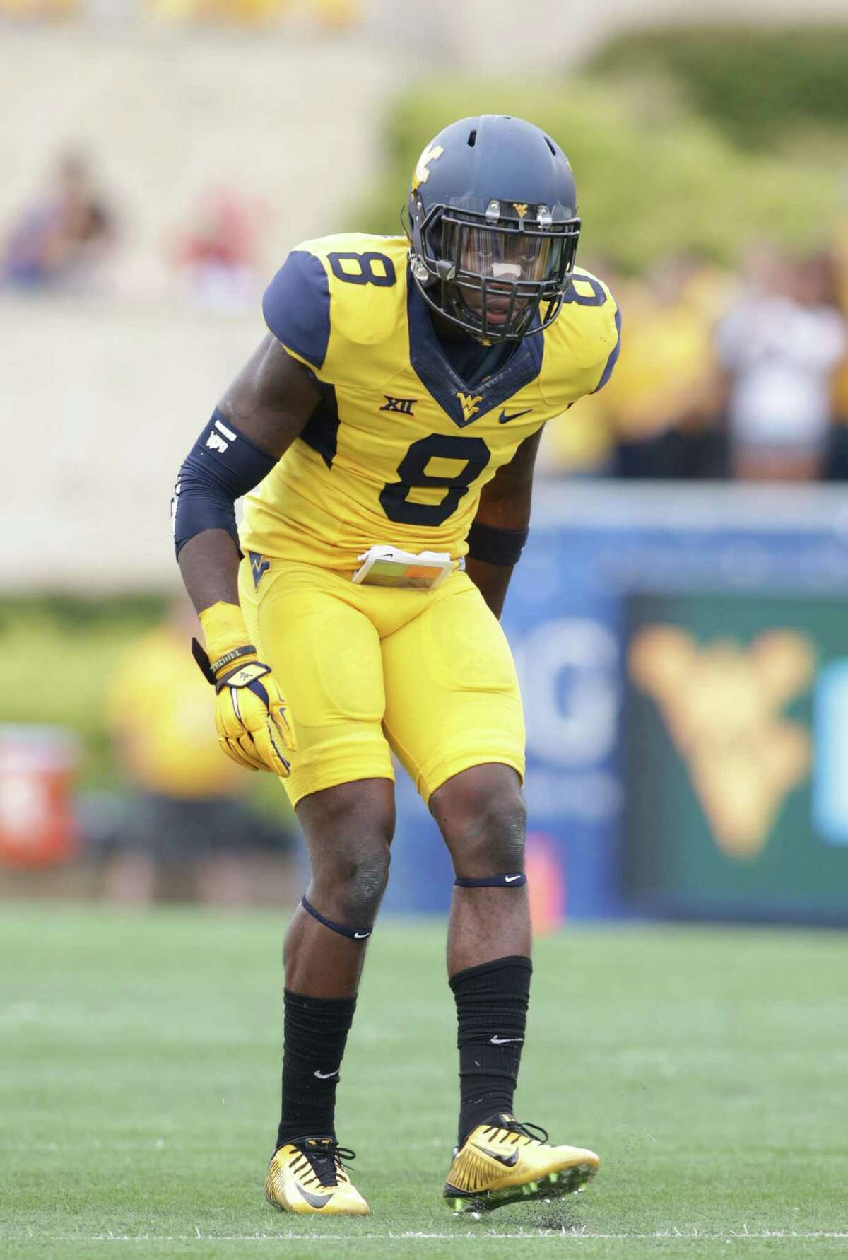 West Virginia safety Karl Joseph (8)during the first half/ second half of a NCAA college football game, Saturday, Sept. 26, 2015, in Morgantown, W.Va.