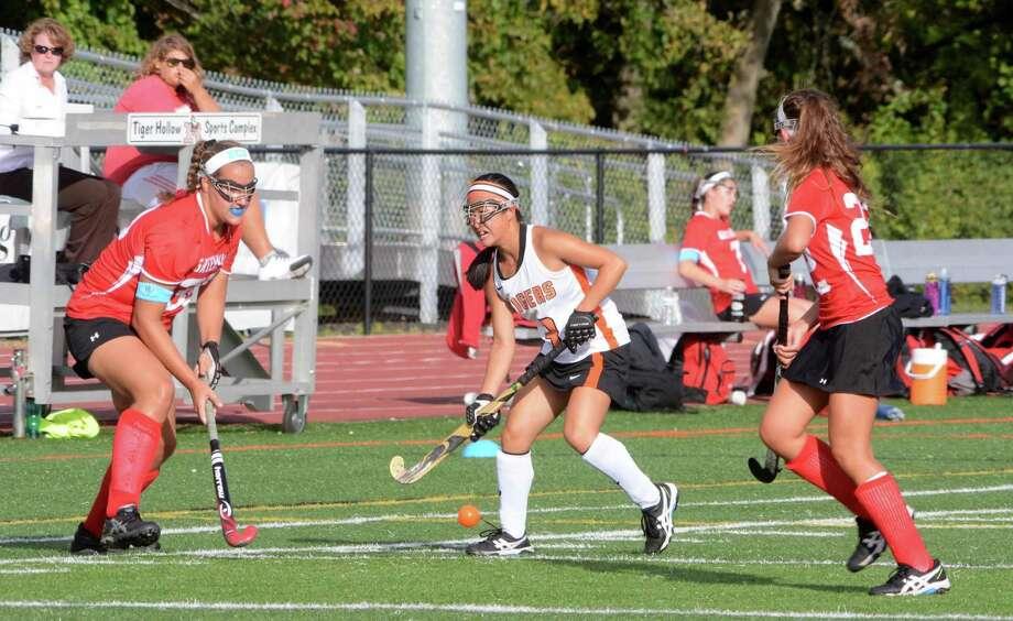 Ridgefield High School plays against Greenwich High School at Ridgefield on Monday, September 28, 2015. Photo: Lisa Weir / For The Newstimes / The News-Times Freelance