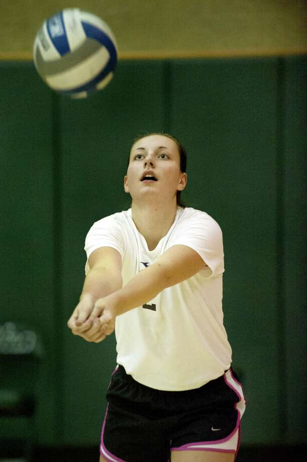 Shen's Nicole Adams bumps the ball during volleyball practice on Friday, Sept. 25, 2015, at Shenendehowa High in Clifton Park, N.Y. (Cindy Schultz / Times Union) Photo: Cindy Schultz / 00033476A