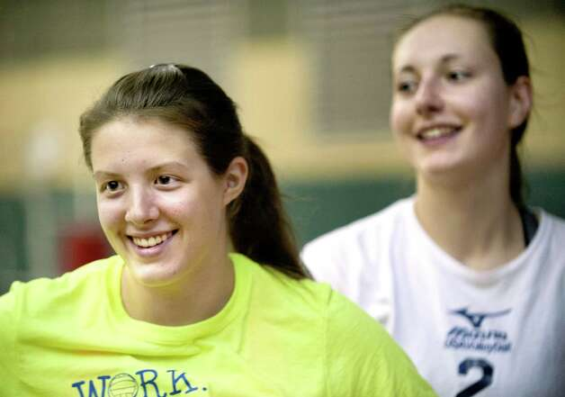 Shen's Julia Paliwodzinski, left, and Nicole Adams during volleyball practice on Friday, Sept. 25, 2015, at Shenendehowa High in Clifton Park, N.Y. (Cindy Schultz / Times Union) Photo: Cindy Schultz / 00033476A