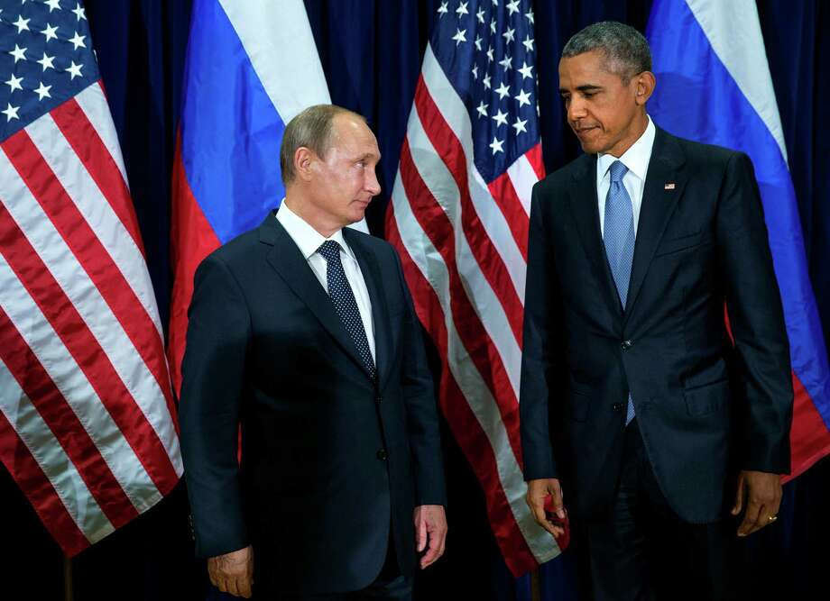 President Barack Obama during a bilateral meeting with Russian President Vladimir Putin on the opening day of the United Nations General Assembly, Sept. 28, 2015. Earlier Monday, Obama and Putin spoke bluntly before the General Assembly, essentially blaming each other for the war in Syria and the refugee crisis it helped to spawn. (Doug Mills/The New York Times) Photo: DOUG MILLS, STF / NYTNS