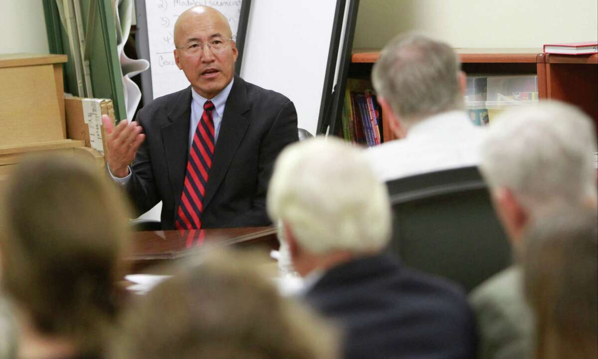 Former Greenwich High School band director John Yoon continues his testimony in his appeals hearing for wrongful termination. The proceedings, attended by several of his supporters, took place at the Greenwich Board of Education offices on Monday, Sept. 28, 2015.