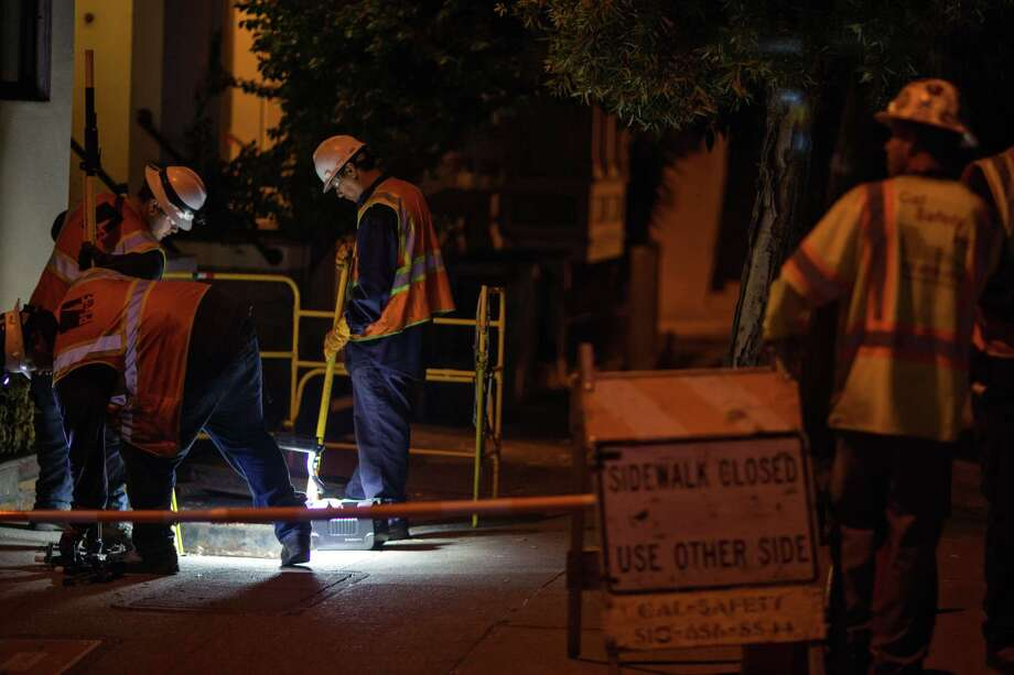 Crews work at 8 Heyman Ave. after injuries from an explosion of a transformer put one man in the hospital on Saturday, Sept. 26, 2015 in San Francisco, Calif. Photo: Nathaniel Y. Downes / Nathaniel Y. Downes / The Chronicle / ONLINE_YES