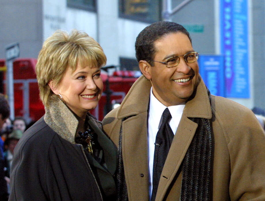 "FILE - This Jan. 14, 2002 file photo shows former NBC ""Today"" show co-hosts Jane Pauley, left, and Bryant Gumbel, during the morning show's 50th anniversary in New York. NBC says that Pauley and Gumbel will join Matt Lauer for Monday's show on Dec. 30. Gumbel left NBC's morning show in 1997 after 15 years, and Pauley left in 1989 after 13 years with ""Today."" They anchored the show together for seven years. Pauley isn't a stranger to ""Today"": She returns each month for a segment that looks at Americans over 50 who start new careers.(AP Photo/Stuart Ramson, File) ORG XMIT: NYET500 Photo: STUART RAMSON / AP"