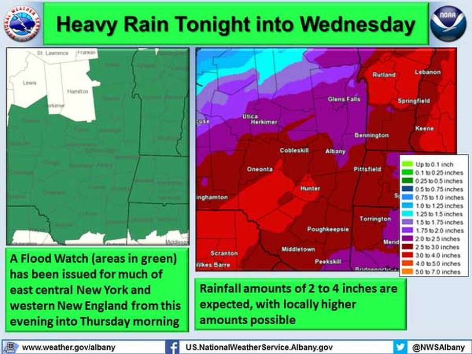 The National Weather Service in Albany is warning that heavy rain could drop up to 4 inches of rain on the Capital Region by Thursday. Forecasters said there is a possibility that some areas could be flooded by the rain. (National Weather Service)
