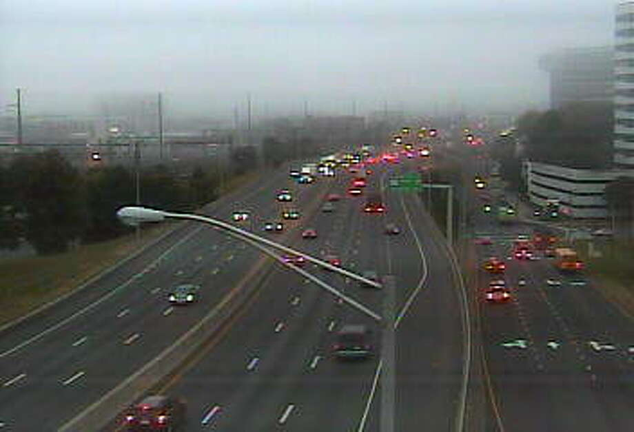 Fog in Stamford near Exit 8 on I-95. Photo: /