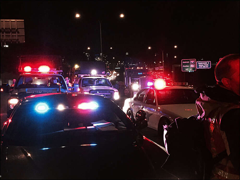 A fatal motorcycle crash early on the morning of Tuesday, Sept. 29, 2015, caused a huge traffic jam on northbound Interstate 5. KOMO News photo. Photo: KOMO News Photo