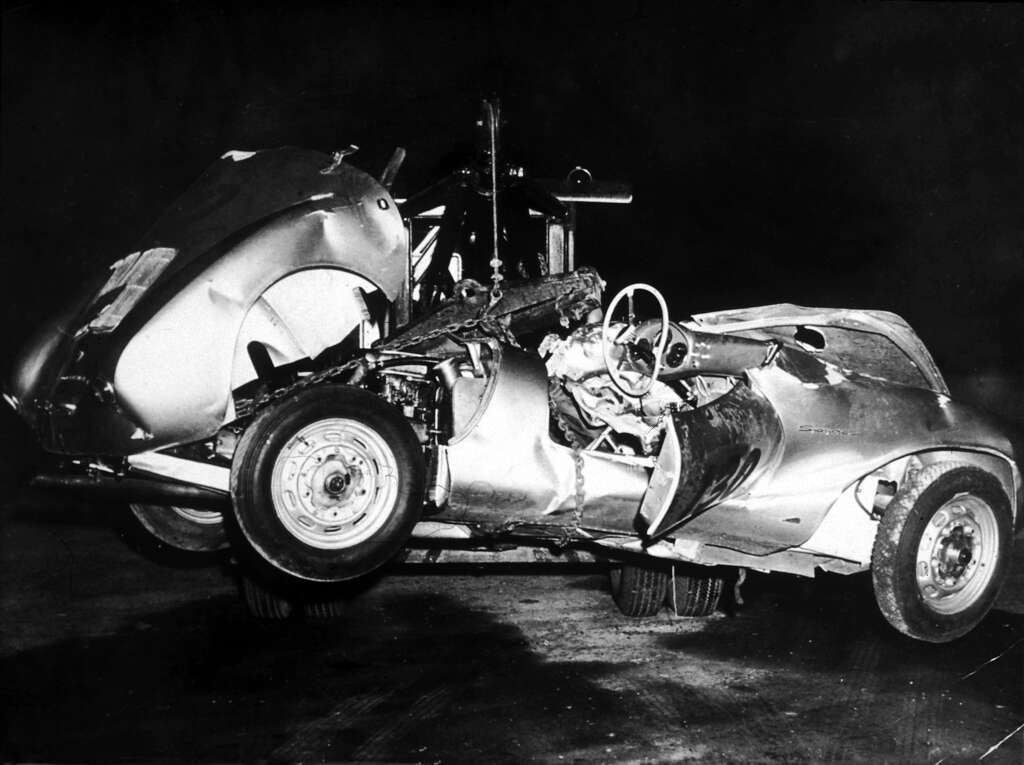 the mangled remains of james deans porsche spyder after his fatal crash in 1955 photo