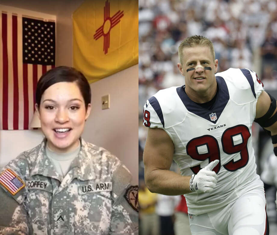 U.S. Army Private Camille Coffey's Facebook video inviting J.J. Watt to her Army ball earned about a half million views in only a few days.See more times J.J. Watt made headlines on and off the field ... Photo: Camille Coffey And Associated Press