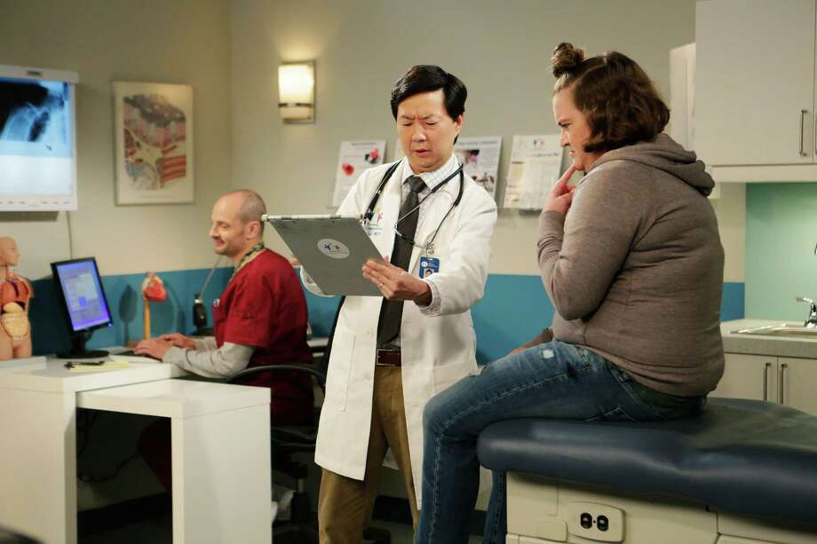 """DR. KEN - """"The Seminar"""" - When the office celebrates a promotion for Clark, Ken is oblivious since he lives in his own world...it's the last straw for Clark dealing with Ken's selfish ways. Clark writes a fake complaint comment card about Ken, so he's forced to attend a training seminar for better bedside manners, which leaves Allison at home to have dinner with Ken's parents, on """"Dr. Ken,"""" FRIDAY, OCTOBER 9 (8:31-9:00 p.m. ET/PT) on the ABC Television Network. (ABC/Nicole Wilder) JONATHAN SLAVIN, KEN JEONG, BETSY SODARO Photo: Nicole Wilder / ABC / © 2015 American Broadcasting Companies, Inc. All rights reserved."""