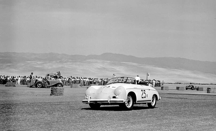 James Dean rounds turn #1 in his Porsche 356 Speedster. during the California Sports Car Club presents the 8th Palm Springs Road Race in 1955. Photo: Bob D'Olivo, The Enthusiast Network